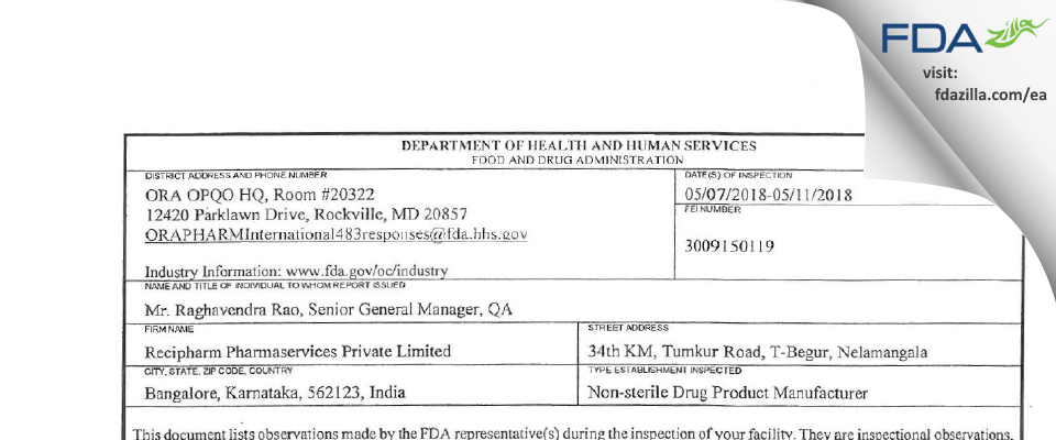 Recipharm Pharmaservices Private FDA inspection 483 May 2018