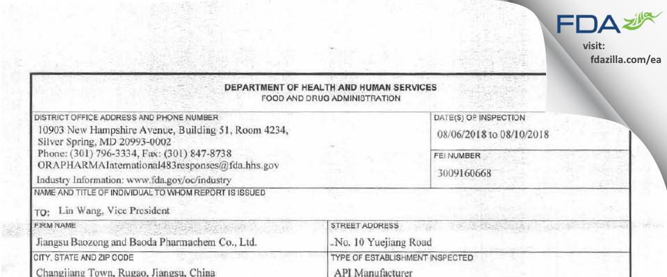 Jiangsu Baozong & Baoda Pharmachem FDA inspection 483 Aug 2018