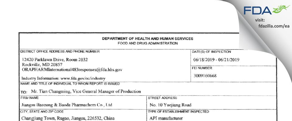 Jiangsu Baozong & Baoda Pharmachem FDA inspection 483 Jun 2019