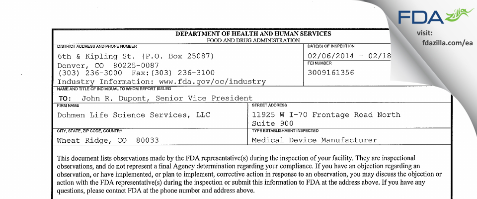 Dohmen Life Science Services FDA inspection 483 Feb 2014