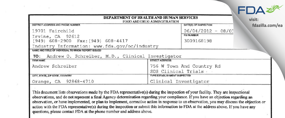 Andrew Schreiber FDA inspection 483 Aug 2012