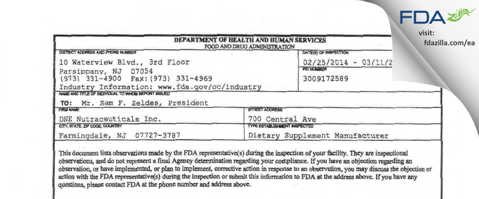 NutraStar (formerly ANS Nutrition) FDA inspection 483 Mar 2014