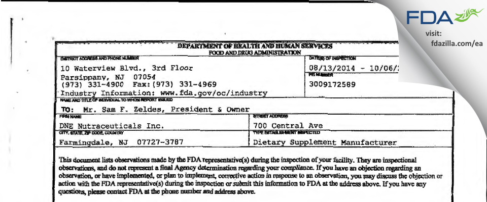 ANS Nutrition (formerly DNE Nutraceuticals) FDA inspection 483 Oct 2014