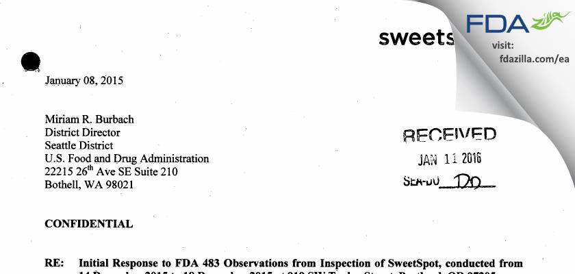 SweetSpot Diabetes Care FDA inspection 483 Dec 2015