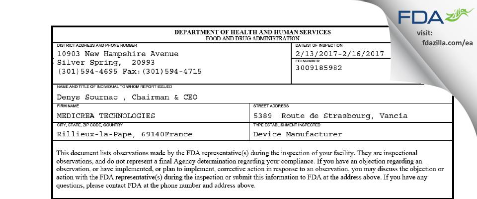 MEDICREA TECHNOLOGIES FDA inspection 483 Feb 2017