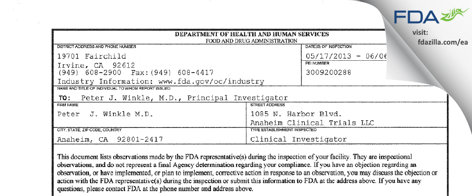 Peter  J. Winkle M.D. FDA inspection 483 May 2013