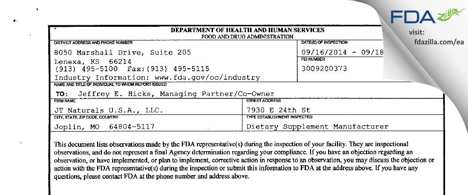 JT Naturals. FDA inspection 483 Sep 2014