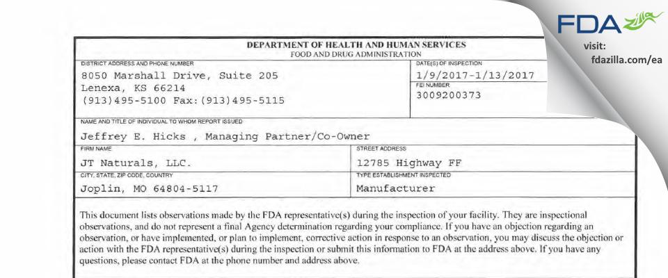 JT Naturals. FDA inspection 483 Jan 2017