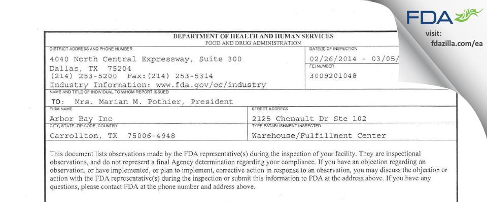 Arbor Bay FDA inspection 483 Mar 2014