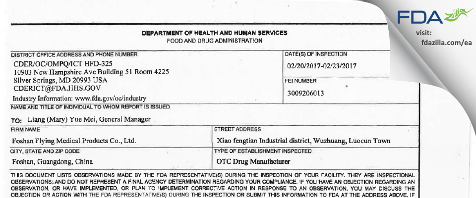 Foshan Flying Medical Products FDA inspection 483 Feb 2017