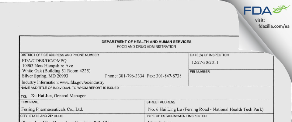 Ferring Pharmaceuticals (China) FDA inspection 483 Dec 2011