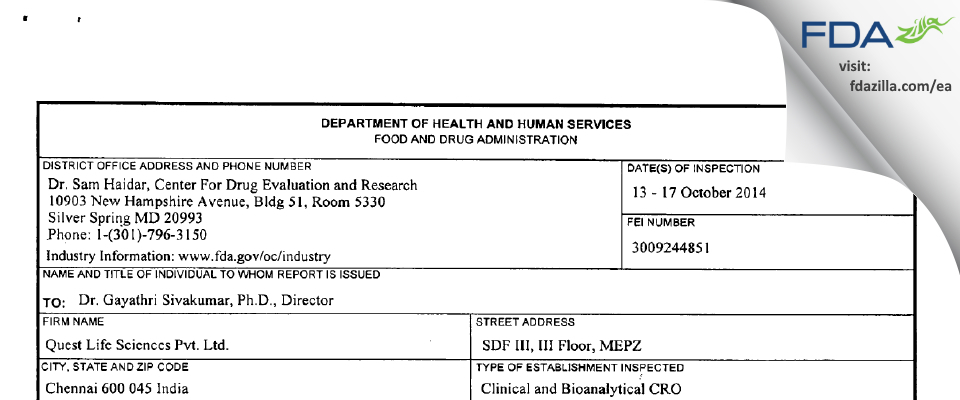 Quest Life Sciences FDA inspection 483 Oct 2014