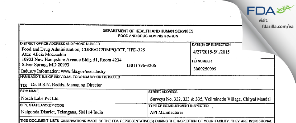 Nosch Labs Private FDA inspection 483 May 2015