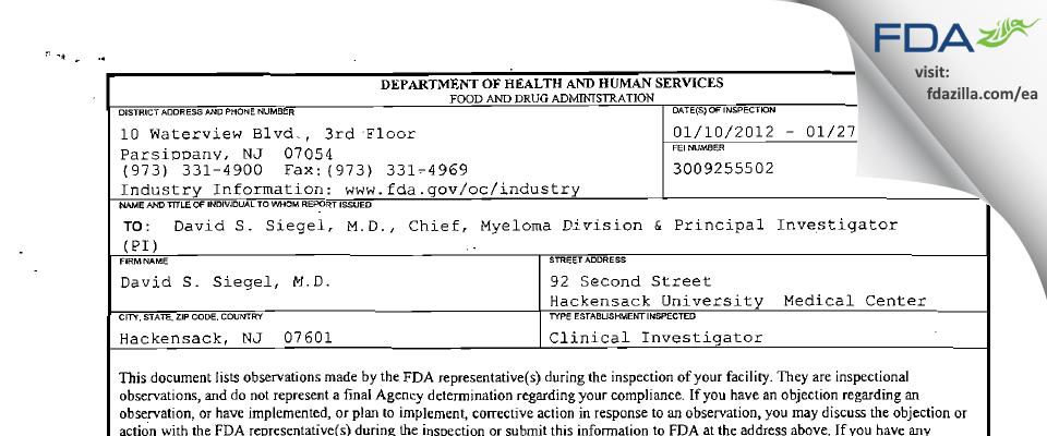 David S. Siegel, M.D. FDA inspection 483 Jan 2012