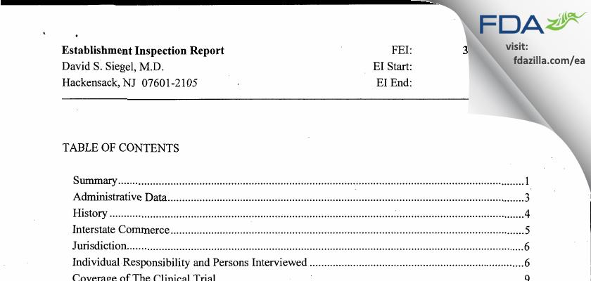 David S. Siegel, M.D. FDA inspection 483 Jul 2012