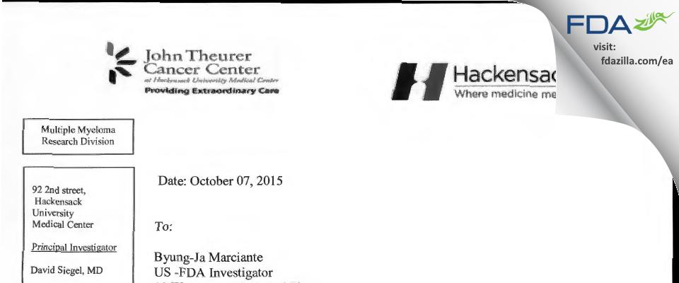 David S. Siegel, M.D. FDA inspection 483 Sep 2015
