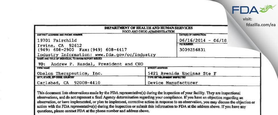 Obalon Therapeutics FDA inspection 483 Jun 2014