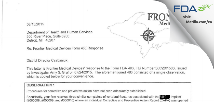 FRONTIER MEDICAL DEVICES. FDA inspection 483 Jul 2015