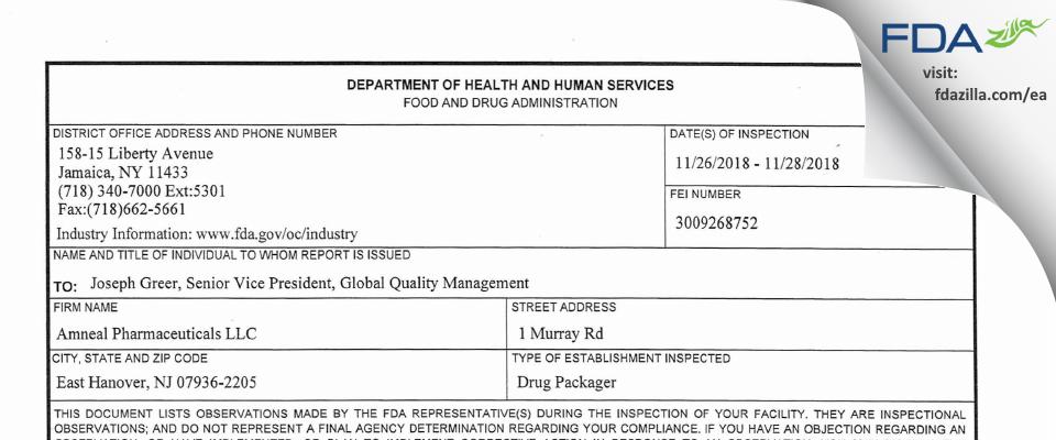 Amneal Pharmaceuticals FDA inspection 483 Nov 2018