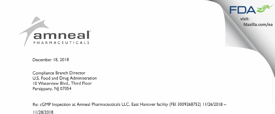 Amneal Pharmaceuticals FDA inspection 483 Nov 2018