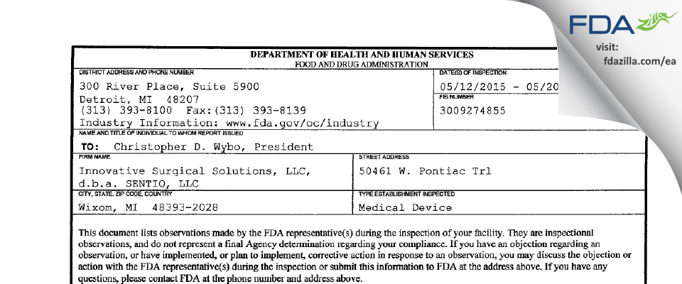 Innovative Surgical Solutions, d.b.a. SENTIO FDA inspection 483 May 2015