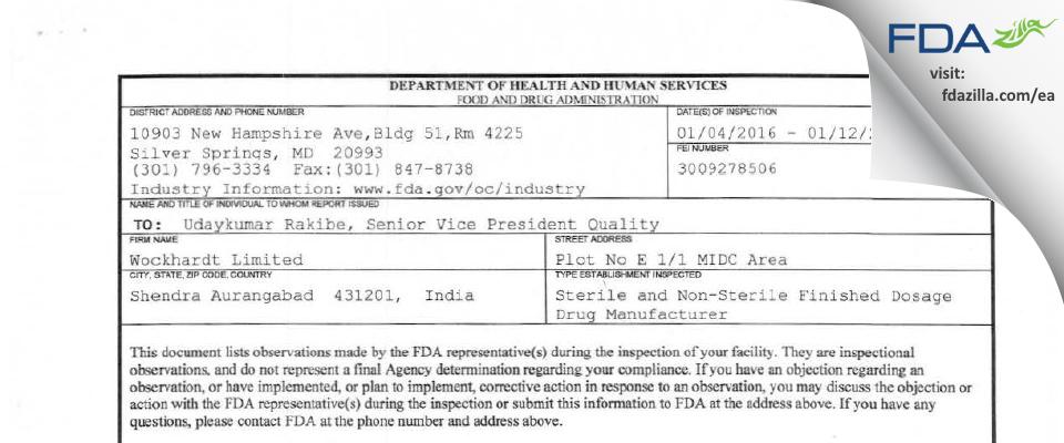 Wockhardt FDA inspection 483 Jan 2016