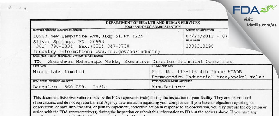 Micro Labs FDA inspection 483 Jul 2012