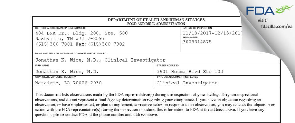 Jonathan K. Wise, M.D. FDA inspection 483 Dec 2017