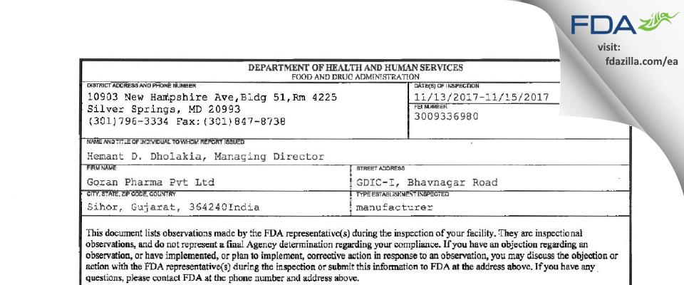 Goran Pharma FDA inspection 483 Nov 2017
