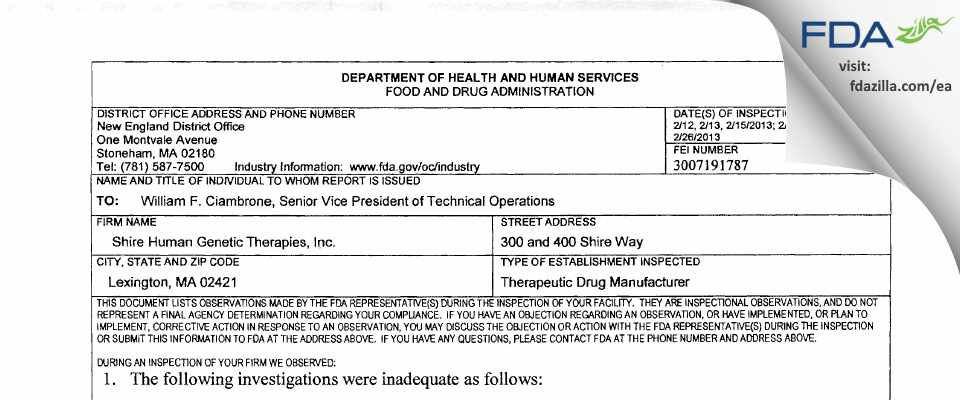 Shire Human Genetic Therapies FDA inspection 483 Feb 2013