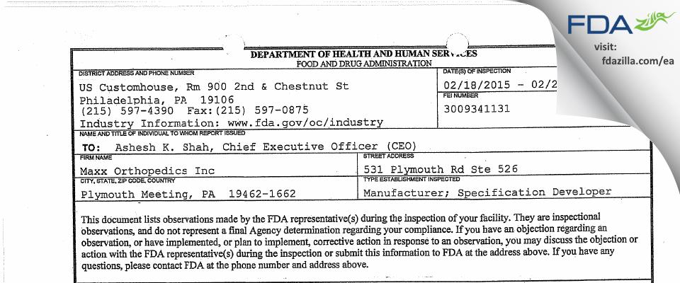 Maxx Orthopedics FDA inspection 483 Feb 2015