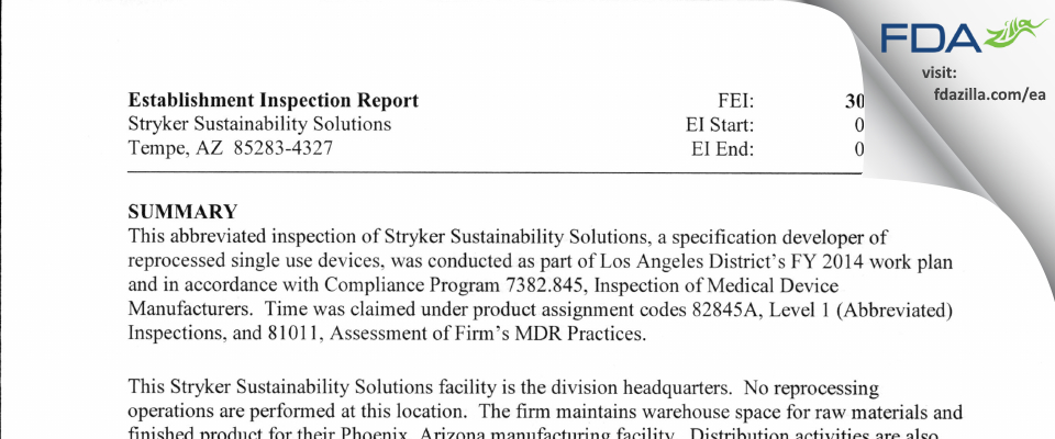 Stryker Sustainability Solutions FDA inspection 483 May 2014
