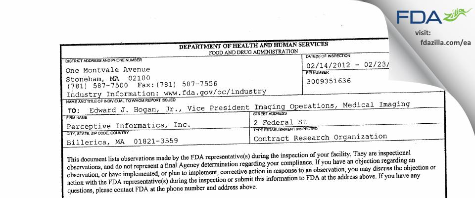 Parexel International FDA inspection 483 Feb 2012