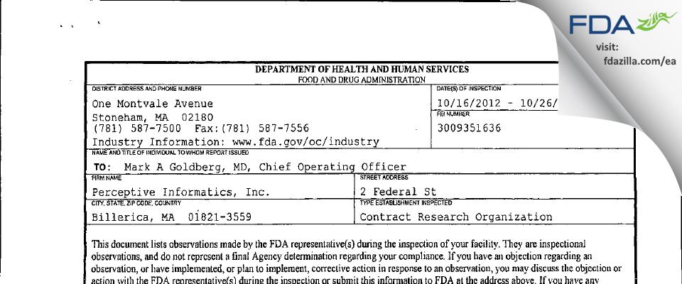 Parexel International FDA inspection 483 Oct 2012