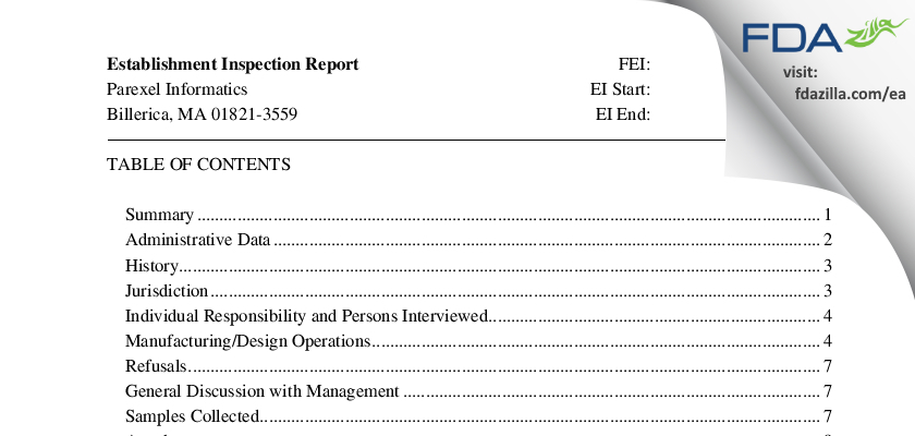 Parexel International FDA inspection 483 Aug 2015