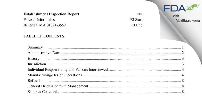 Parexel FDA inspection 483 Dec 2015