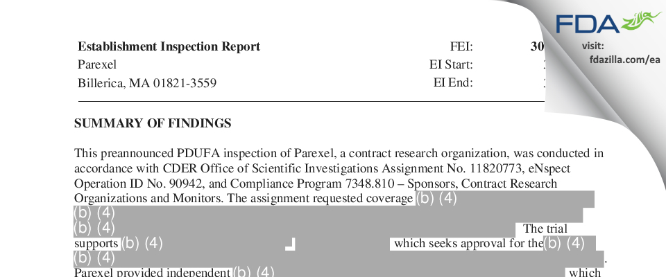Parexel International FDA inspection 483 Mar 2018