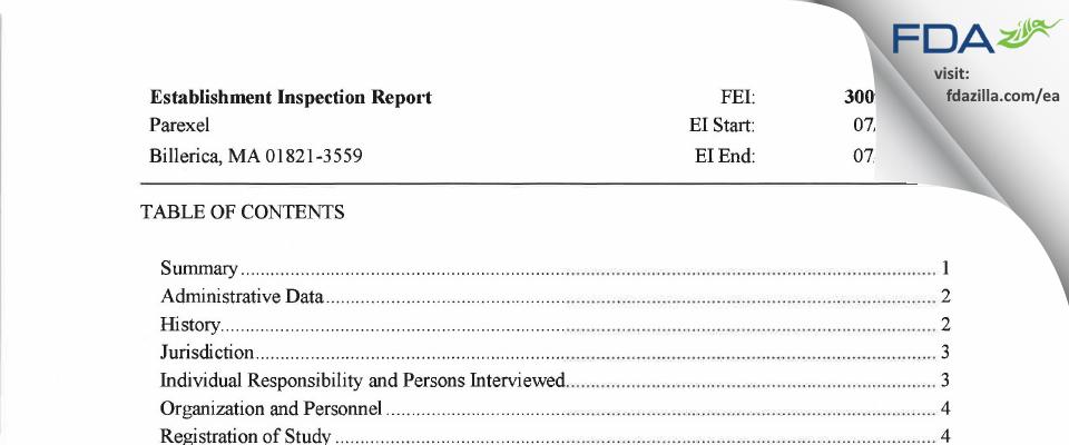 Parexel FDA inspection 483 Jul 2019