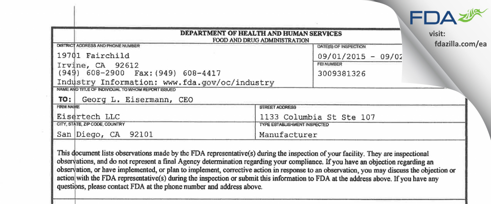 Eisertech FDA inspection 483 Sep 2015