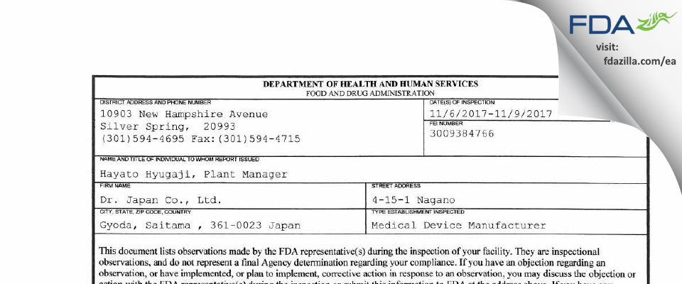Dr. Japan FDA inspection 483 Nov 2017