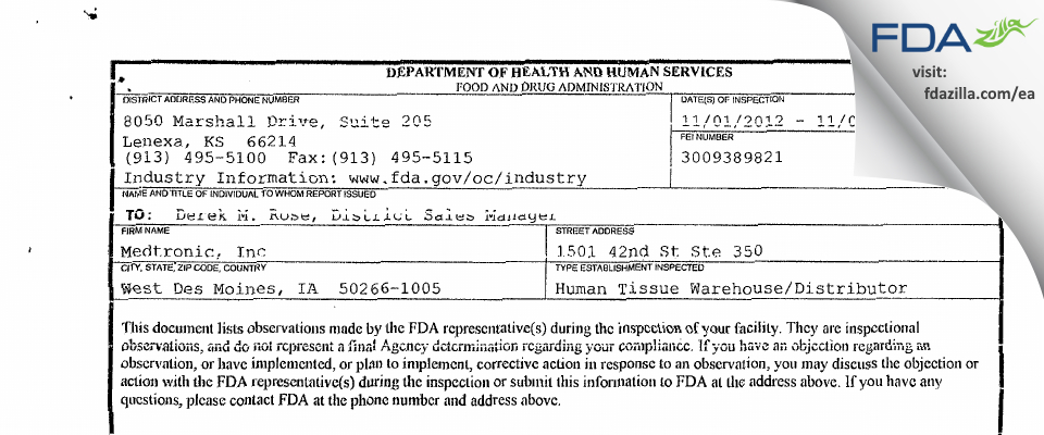 Medtronic FDA inspection 483 Nov 2012