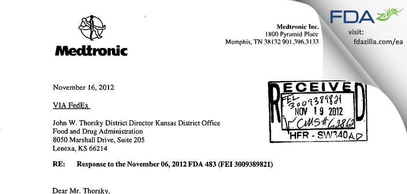 Medtronic FDA inspection 483 Nov 2012