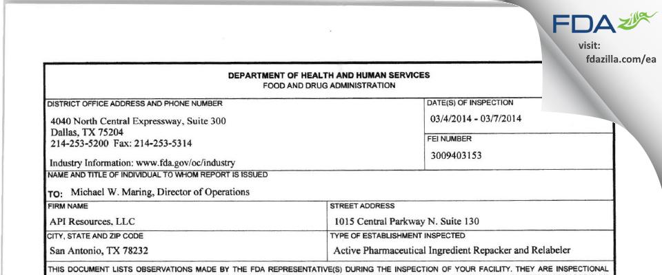 API Resources FDA inspection 483 Mar 2014
