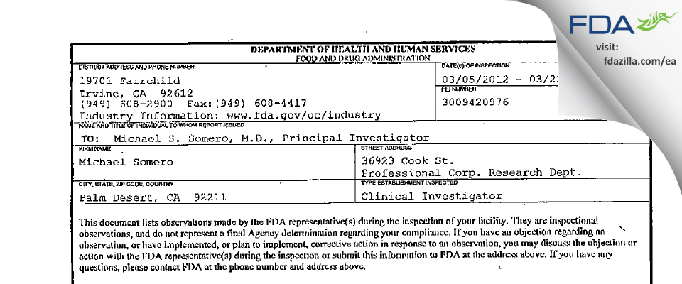 Michael Somero FDA inspection 483 Mar 2012