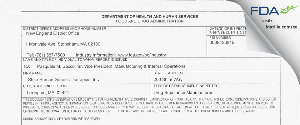 Shire Human Genetic Therapies FDA inspection 483 Aug 2012