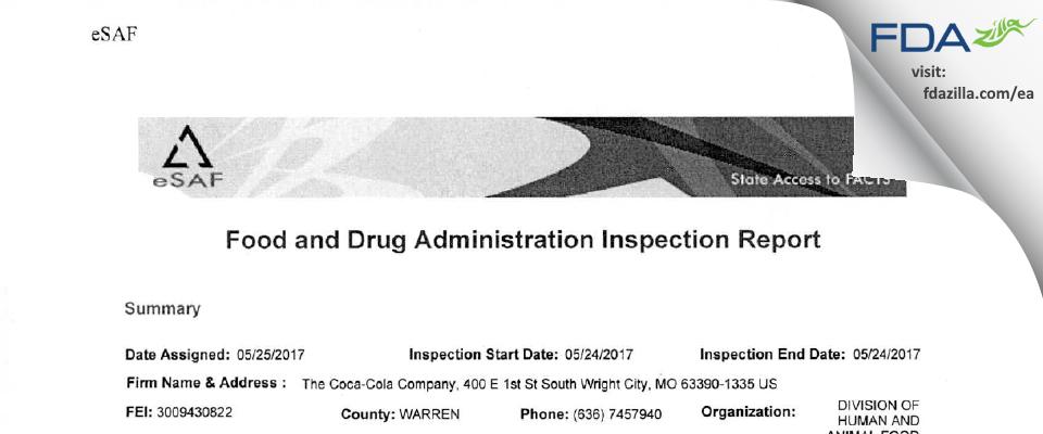 The Coca-Cola Company FDA inspection 483 May 2017
