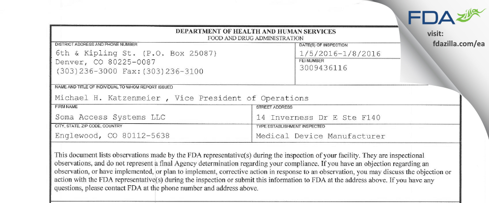 MD Medtech dba Innovatus Imaging FDA inspection 483 Jan 2016