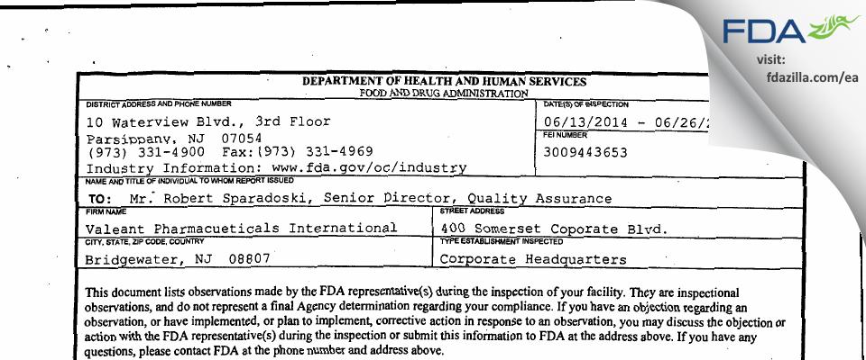 Valeant Pharmacueticals North America FDA inspection 483 Jun 2014