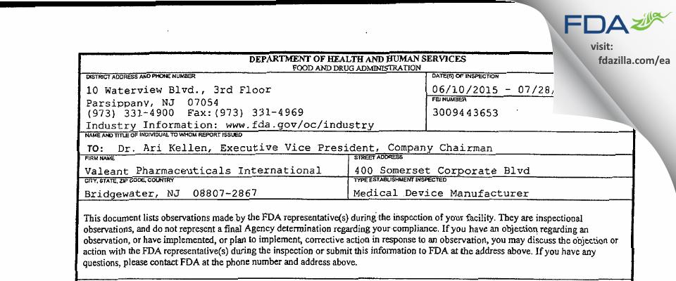 Valeant Pharmacueticals North America FDA inspection 483 Jul 2015