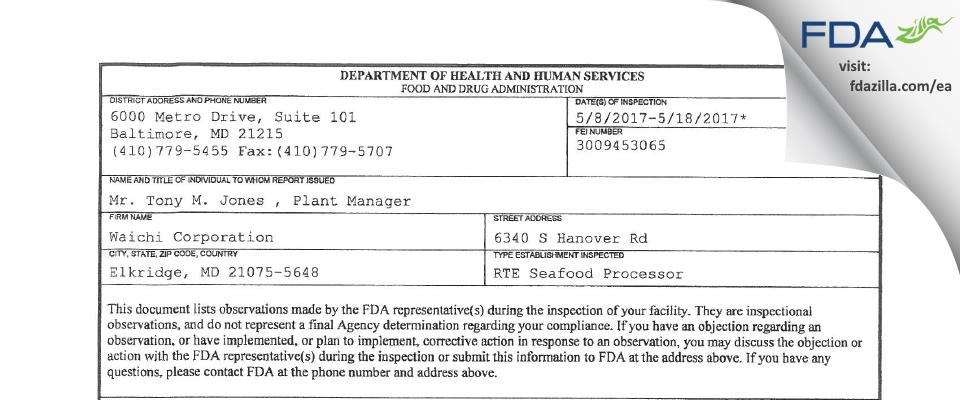 Waichi FDA inspection 483 May 2017